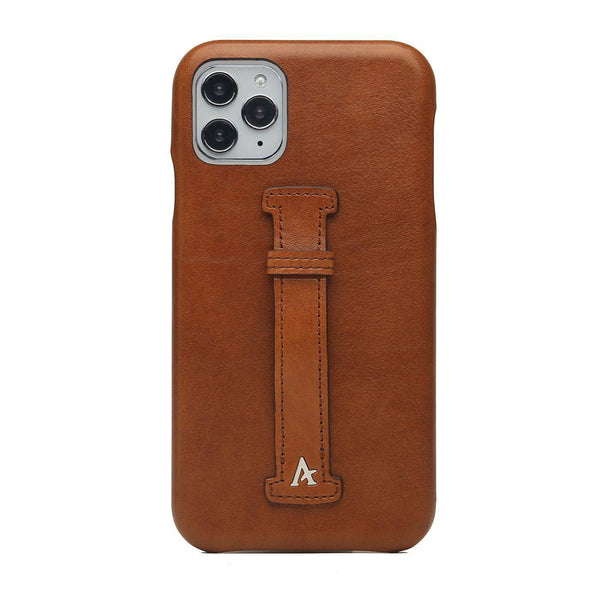 Leather Finger Loop iPhone 11 Pro Max Case (Natural) - Affluent