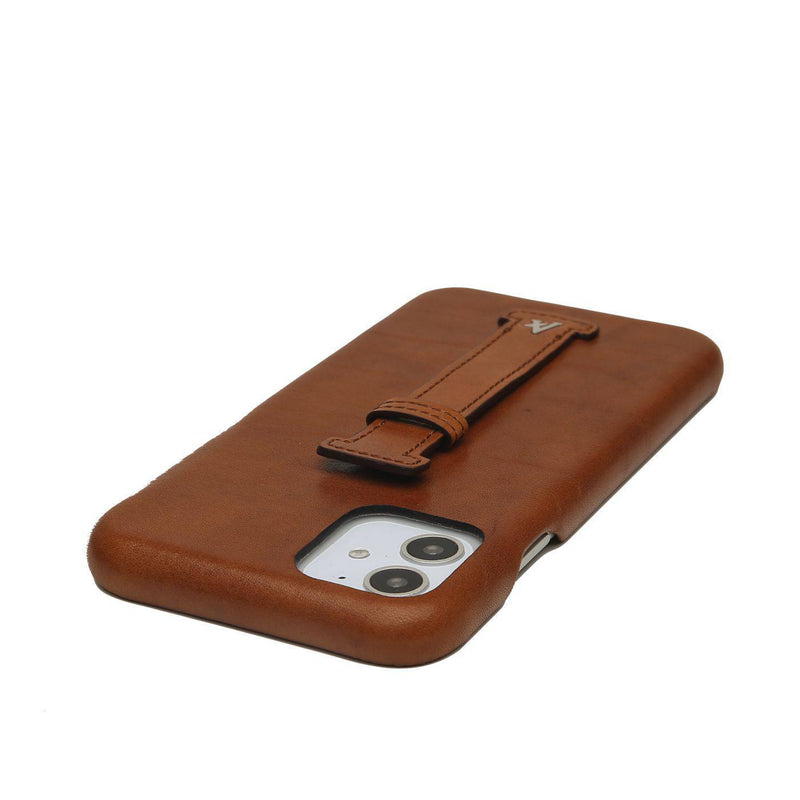 Leather Finger Loop iPhone 11 Case (Natural) - Affluent