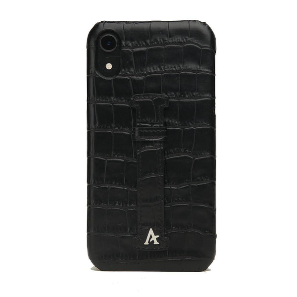 Leather Finger Loop iPhone XR Case (Croc) - Affluent