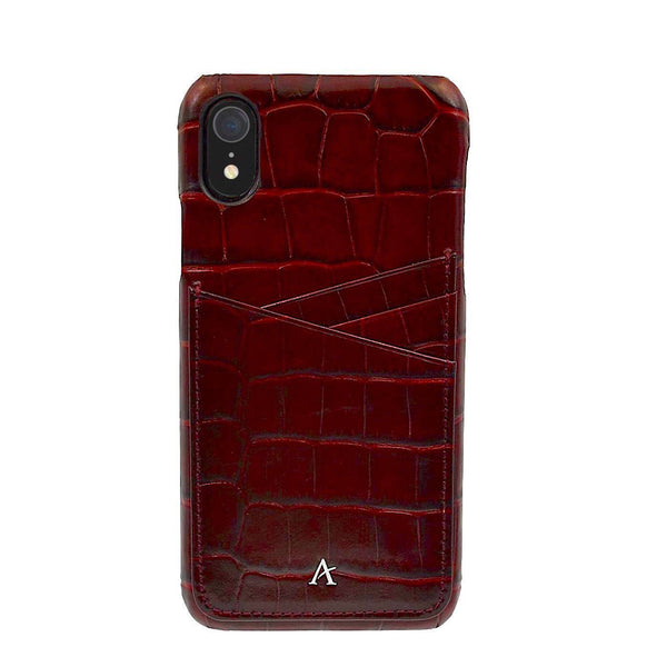 Leather Card Slot iPhone XR Case (Croc) - Affluent