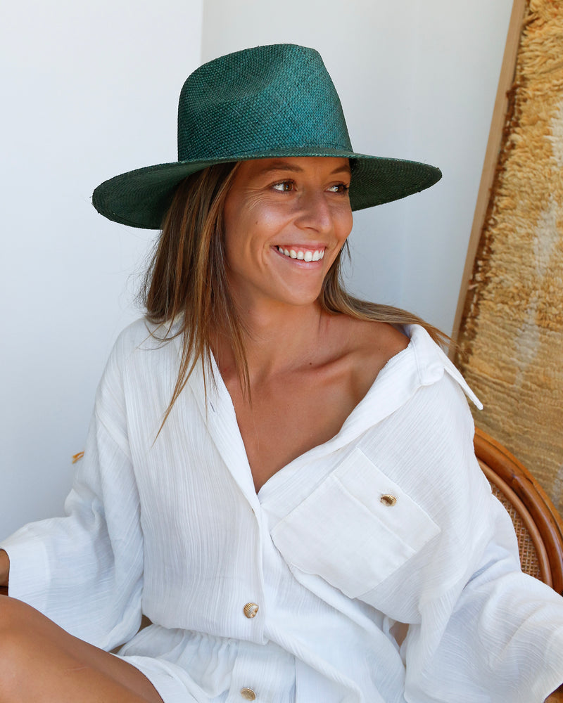 Classic Woven Fedora - Green