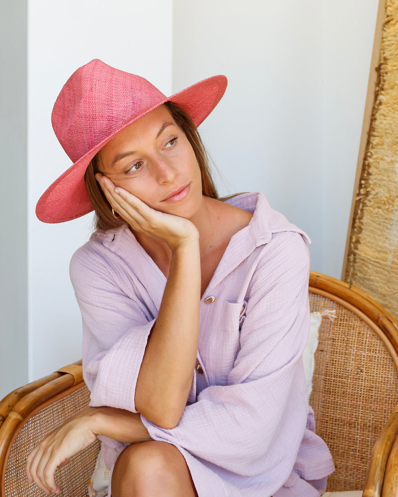 Classic Woven Fedora - Pink