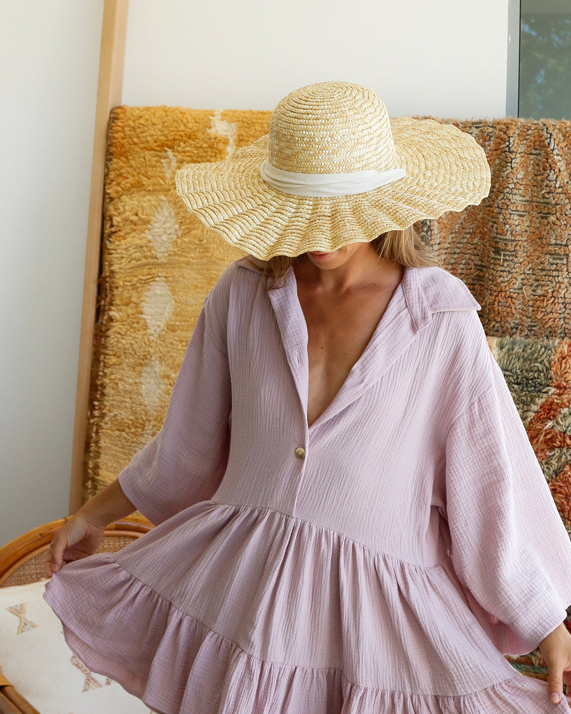 Scallop Straw Hat - Cream Ribbon