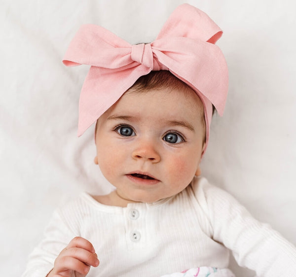 Linen Bow Pre Tied Headband Wrap - Baby Pink