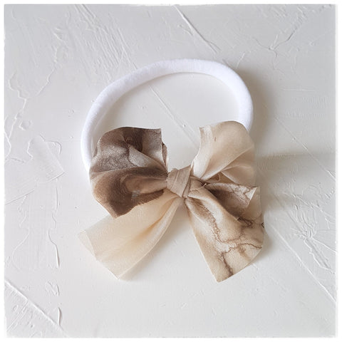 plant dyed habutai silk headband or clip :: woodgrain walnut {limited edition}
