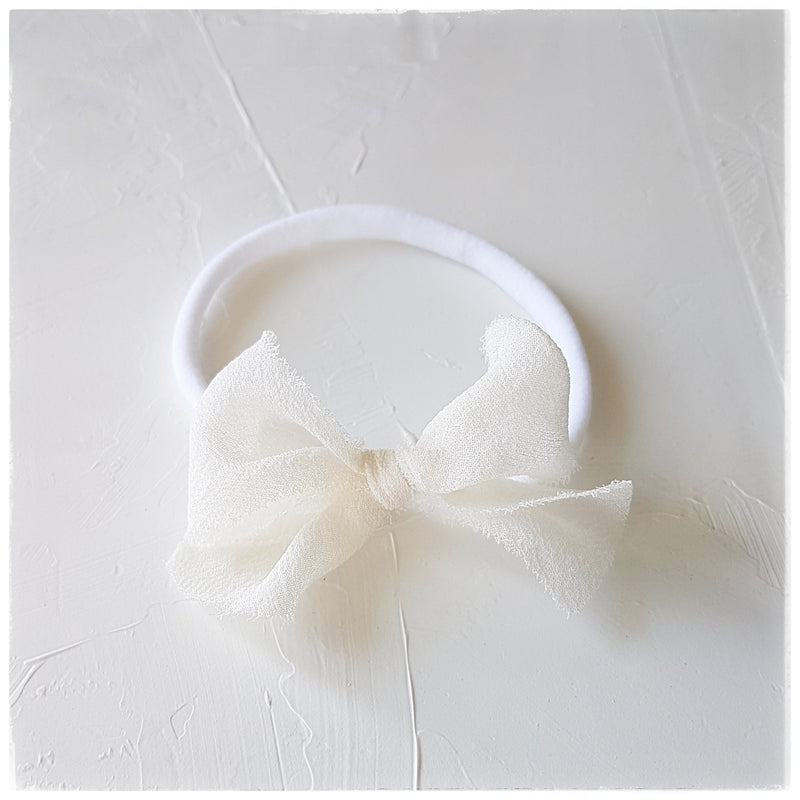 plant dyed georgette silk headband or clip :: ivory