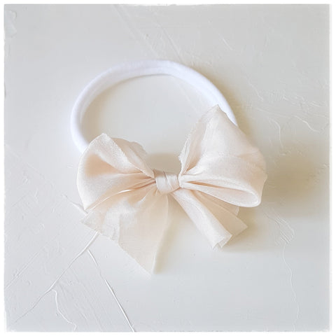 plant dyed habotai silk headband or clip :: champagne blush
