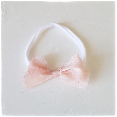 plant dyed tussar silk headband or clip :: pale rose