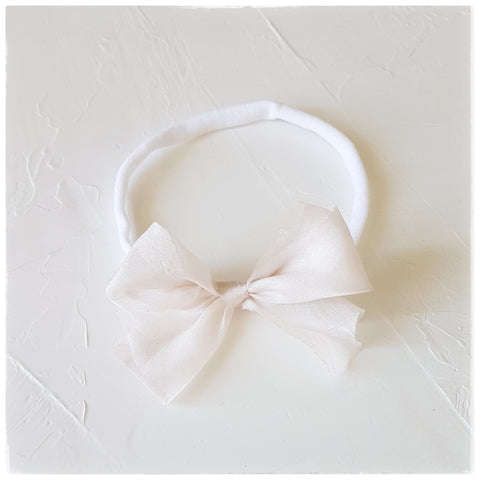 plant dyed tabby silk headband or clip :: blush