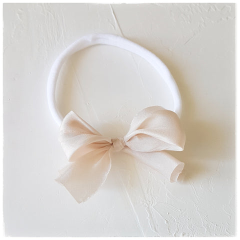 plant dyed habotai silk headband or clip :: dove white