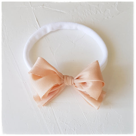 plant dyed habotai silk headband or clip :: peach blush