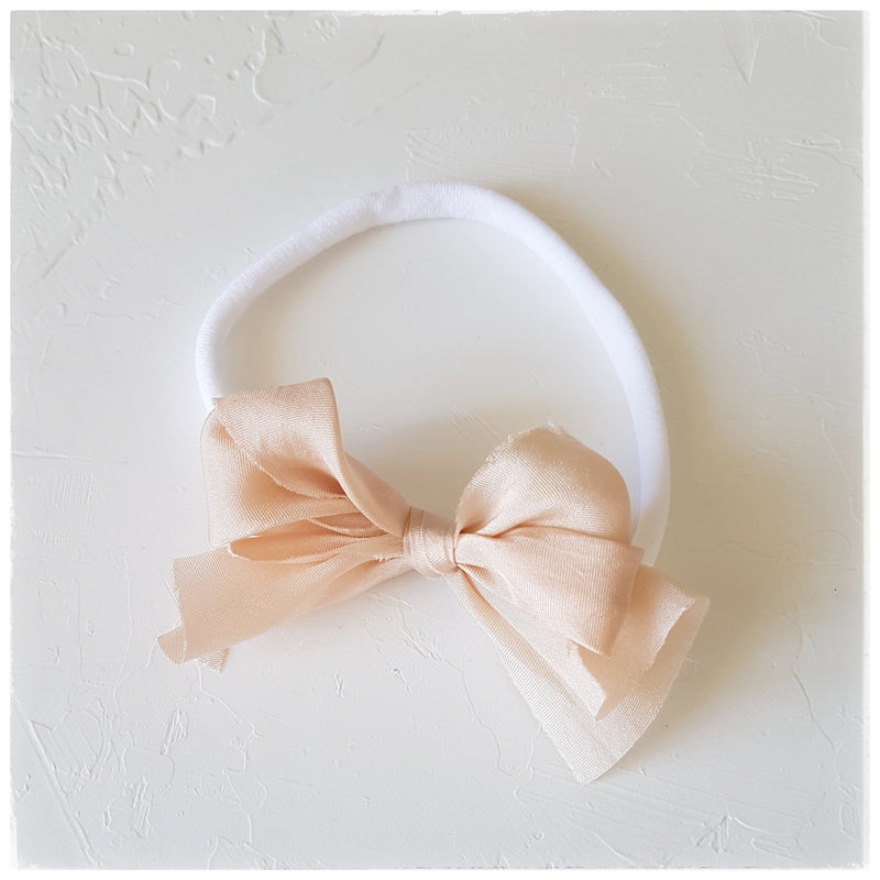 plant dyed habotai silk headband or clip :: peach gold
