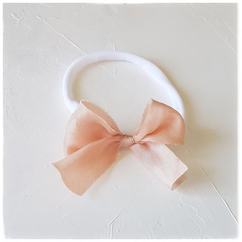 plant dyed habotai silk headband or clip :: peach