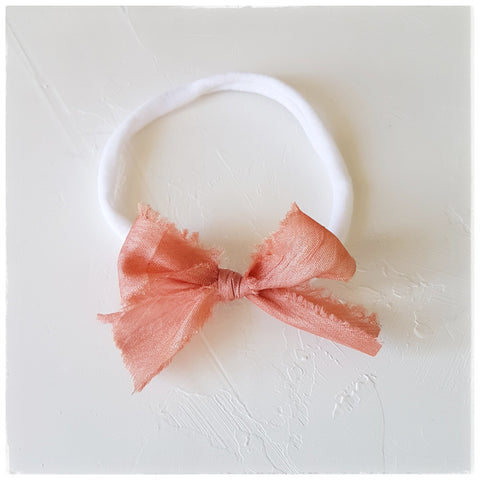 plant dyed tussar silk headband or clip :: rose gold