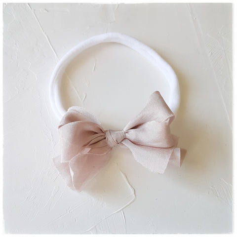 plant dyed habutai silk headband or clip :: muted lavender rose