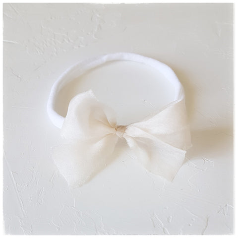 plant dyed tabby silk headband or clip :: ivory