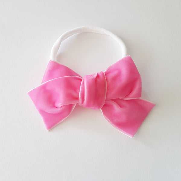 Velvet Bow Headband Large - Pink