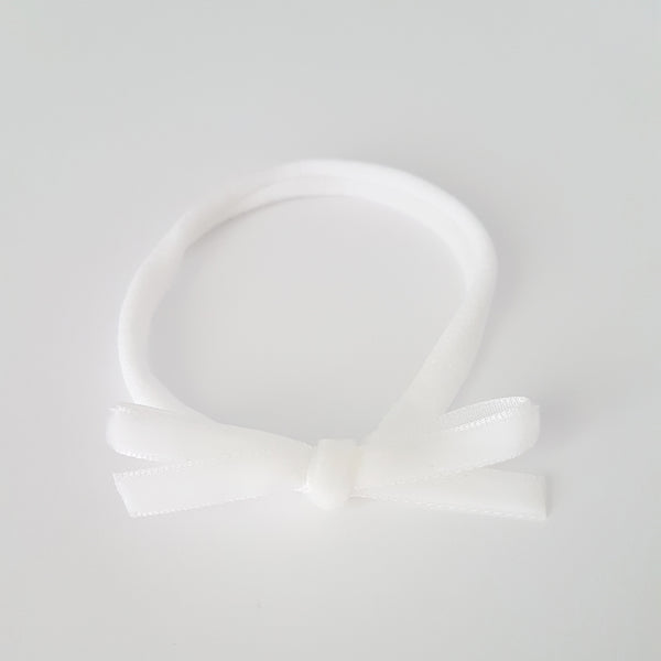Velvet Bow Headband Skinny - White