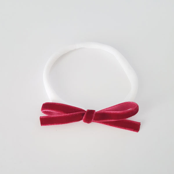 Velvet Bow Headband Skinny - Wine