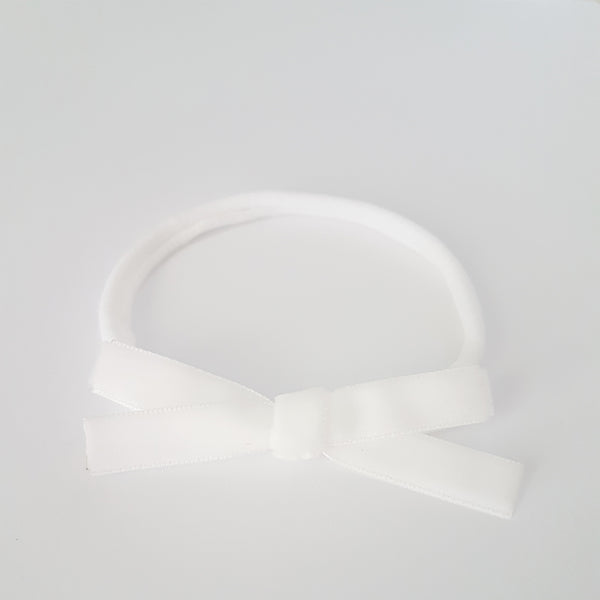 Velvet Bow Headband Regular - White