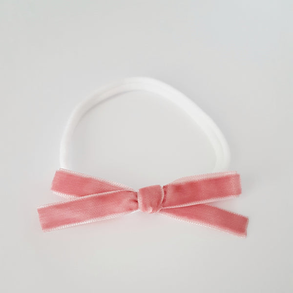Velvet Bow Headband Regular - Antique Pink