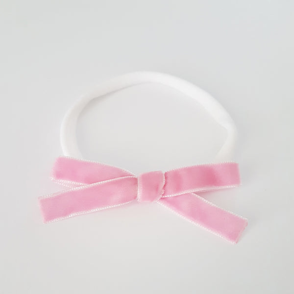 Velvet Bow Headband Regular - Bubblegum Pink
