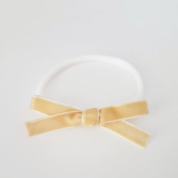 Velvet Bow Headband Regular - Butterscotch
