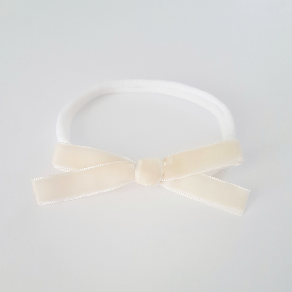 Velvet Bow Headband Regular - Vanilla
