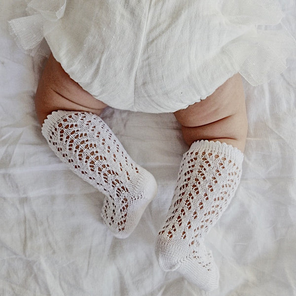 CONDOR Openwork Lace Knee High Socks - White