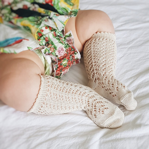 CONDOR Openwork Lace Knee High Socks - Linen