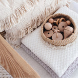 Diamond Knit Baby Blanket - White