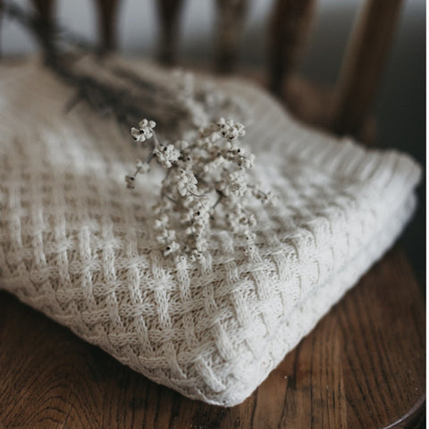 Diamond Knit Baby Blanket - Cream