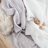 Diamond Knit Baby Blanket - Grey