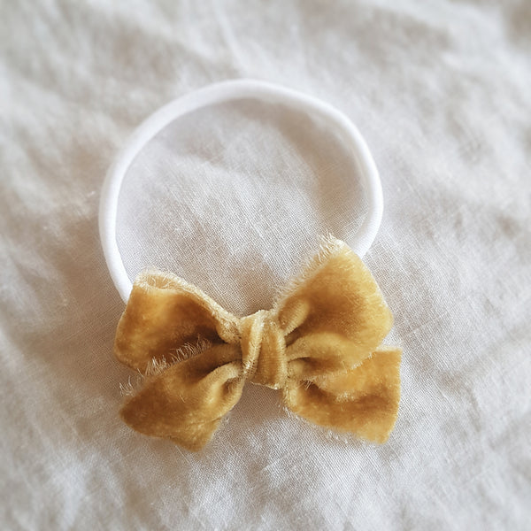 hand dyed velvet headband or clip :: antique gold