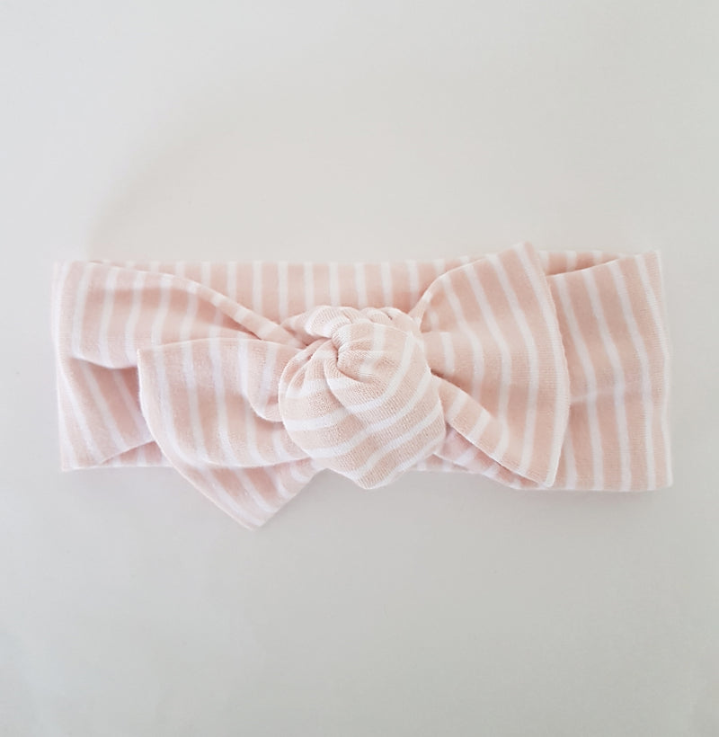 Headwrap - Blush + white stripe