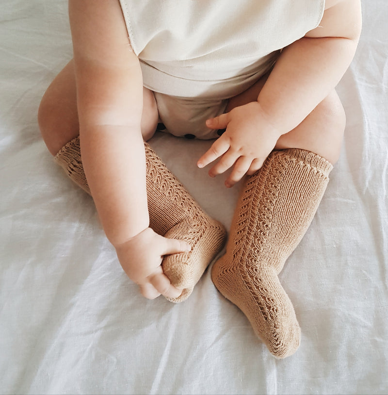 CONDOR Side Openwork Lace Knee High Socks - Camel