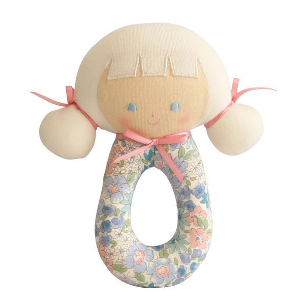 AUDREY GRAB RATTLE 16CM - LIBERTY BLUE