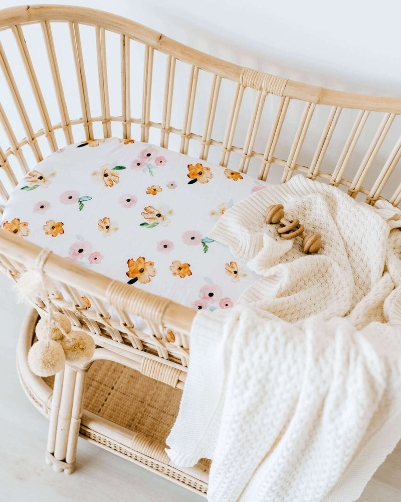 Bassinet Sheet / Change Pad Cover - Poppy
