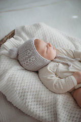 Merino Wool Bonnet & Booties - Grey