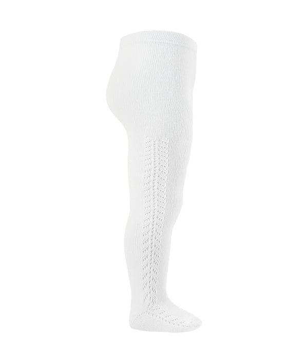 CONDOR Side Openwork Lace Tights - White