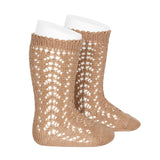 CONDOR Openwork Lace Knee High Socks - Camel