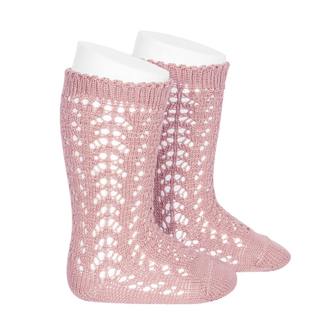 CÓNDOR Openwork Lace Knee High Socks - Dusty Pink