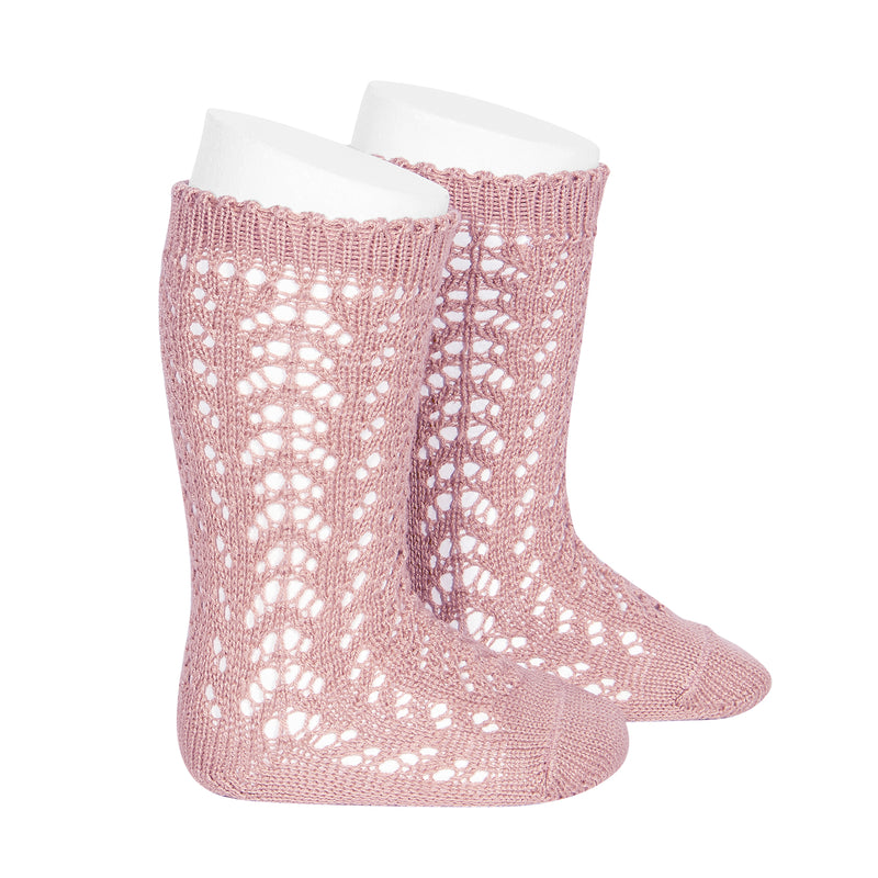 CONDOR Openwork Lace Knee High Socks - Dusty Pink