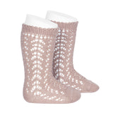 CÓNDOR Openwork Lace Knee High Socks - Old Rose