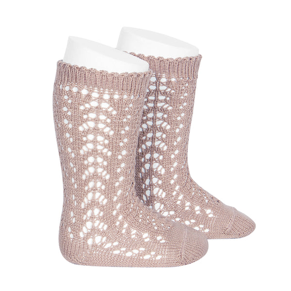 CONDOR Openwork Lace Knee High Socks - Old Rose