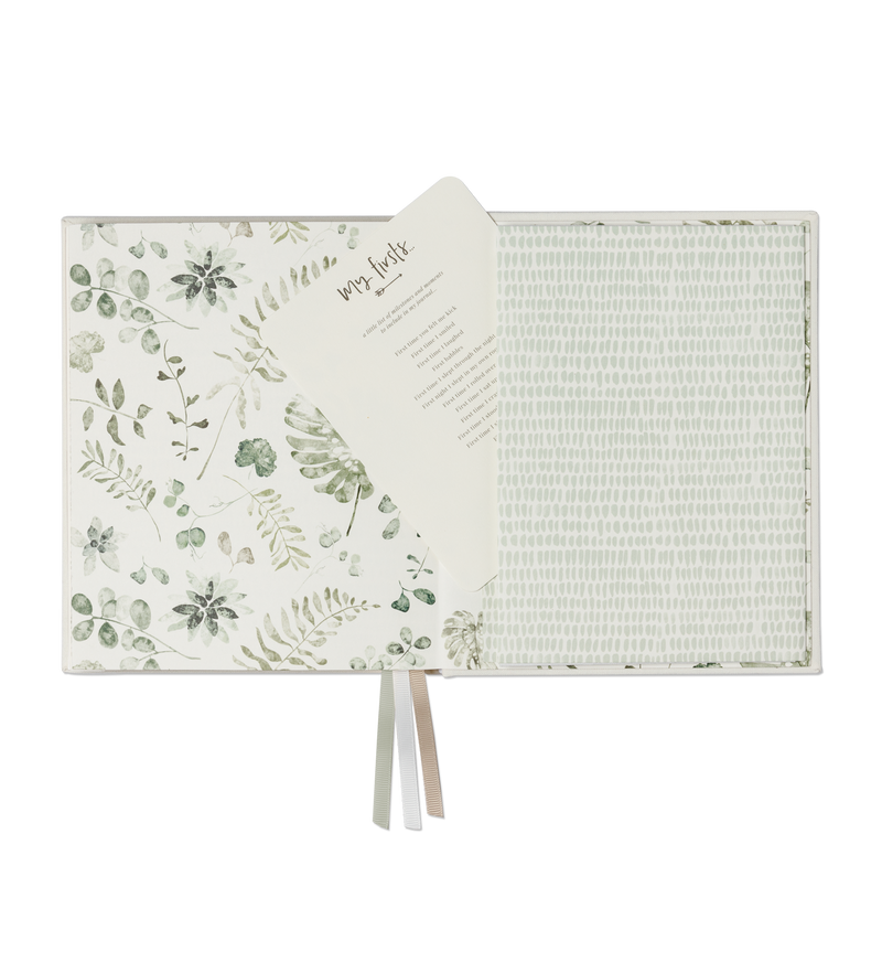 Boxed Linen Cover Luxe Baby Journal - Sage