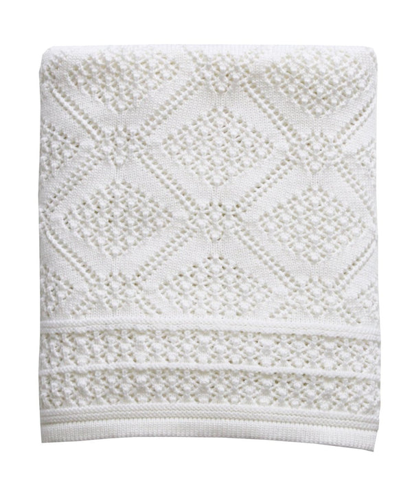 GEOMETRIC PATTERN 100% MERINO HEIRLOOM BABY BLANKET - BIANCO