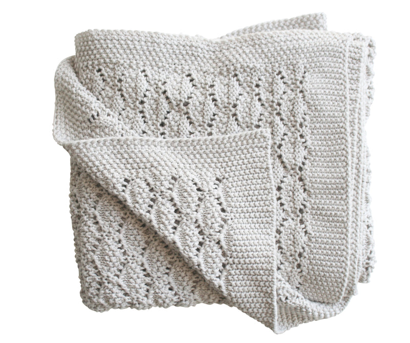 ORGANIC HERITAGE KNIT BABY BLANKET - CLOUD GREY