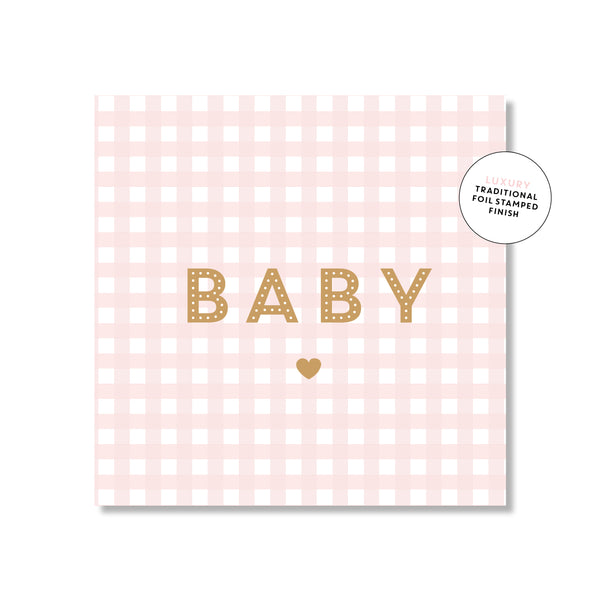 Mini Gift Card - Pink Gingham Baby
