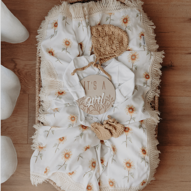 Sunflower double gauze swaddle with natural fringe